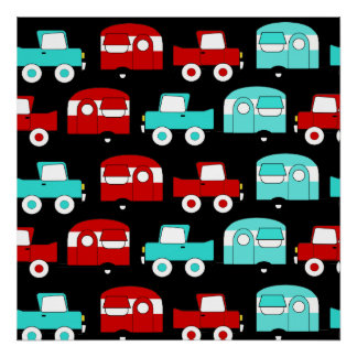Retro Camping Trailer Turquoise Red Vintage RV Poster