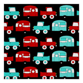 Retro Camping Trailer Turquoise Red Vintage RV Posters