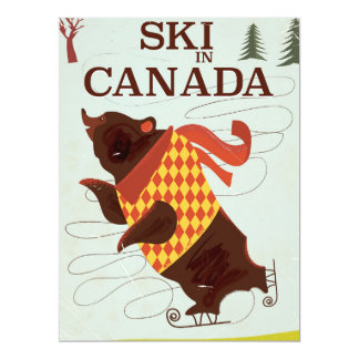 Retro Canadian travel poster Card