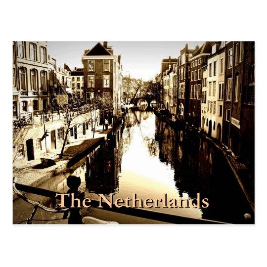 Retro Canal Scene Postcard