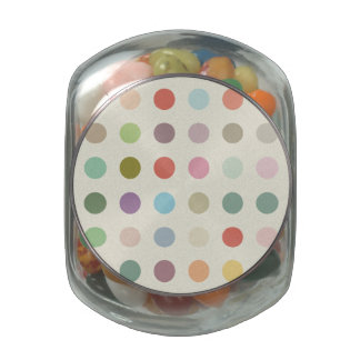 Retro Candy Colors Polka Dots Pattern Glass Jars