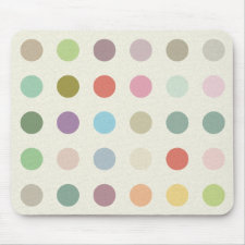 Retro Candy Colors Polka Dots Pattern Mouse Pads