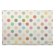 Retro Candy Colors Polka Dots Pattern Place Mats