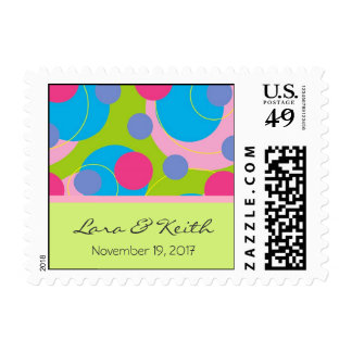 Retro Candy Dots Save The Date / Invitation Stamps