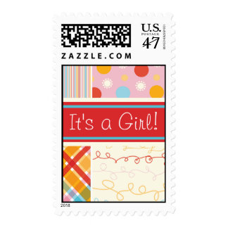 Retro Candy Pink Combo Baby Announcement Stamps