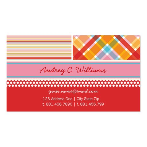 Retro Candy Pink Combo Pattern Custom Profile Card Business Cards