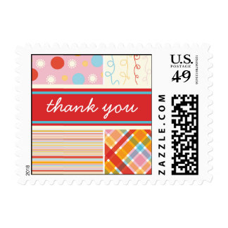 Retro Candy Pink Combo Pattern Thank You Stamps