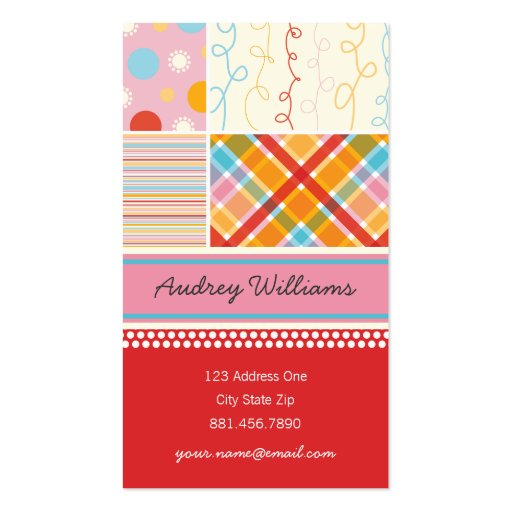 Retro Candy Pink Pattern Squares Plaid Dots Stripe Double-Sided Standard Business Cards (Pack Of 100)