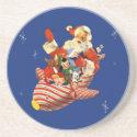 Retro Candy Rocket Santa Coaster