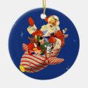 Retro Candy Rocket Santa Ornament