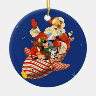 Retro Candy Rocket Santa Ornament