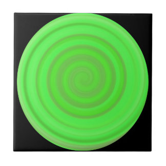Retro Candy Swirl in Lime Green Ceramic Tile
