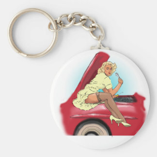 Retro Car and Model Basic Round Button Keychain