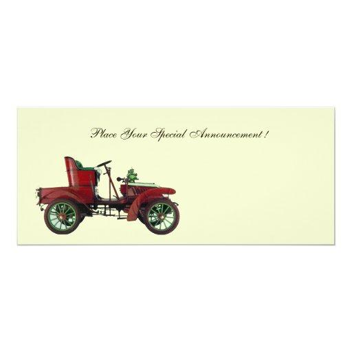 RETRO CAR , AUTO RESTORATION ,white Personalized Invitations