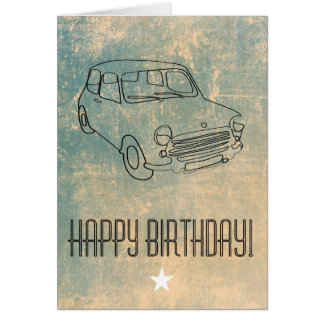 Retro Car Birthday Greetings Card with Star
