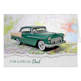 retro car on map for Dad's birthday Card