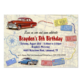 Retro Car Party Road Trip Invitation - Birthday