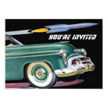 Retro Car & Rocket Birthday Personalized Announcements