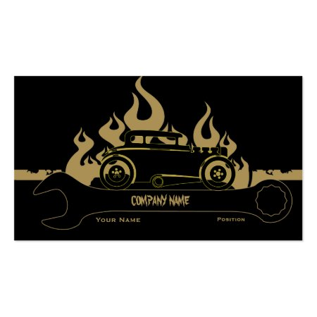 Black Retro Auto Repair Business Cards