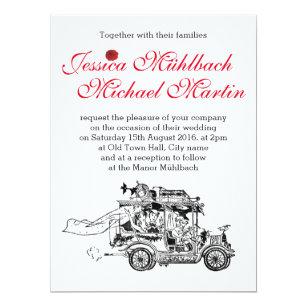 Retro Car Wedding Invitation 16 5 Cm X 22 2