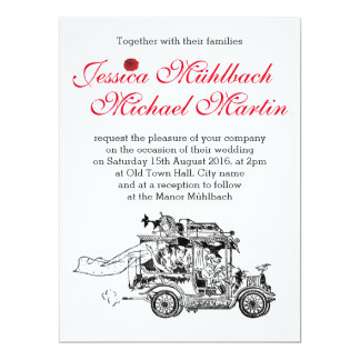 Retro Car Wedding Invitation 16.5 cm x 22.2 cm
