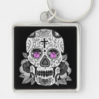 Retro Carnival Sugar Skull ANY CUSTOM COLOR Keychain
