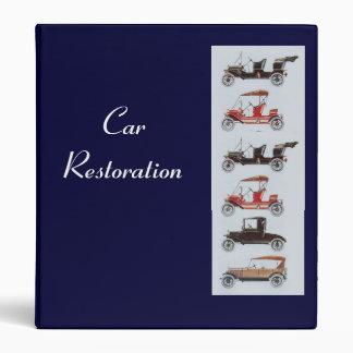 RETRO CARS 2  RESTORATION blue 3 Ring Binder