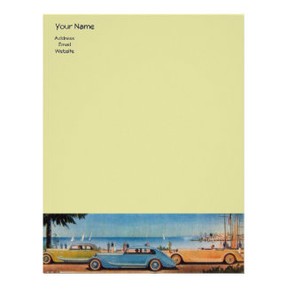 RETRO CARS - Auto repair automotive ,blue yellow Letterhead