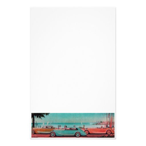 RETRO CARS - Auto repair automotive ,blue yellow Personalized Stationery