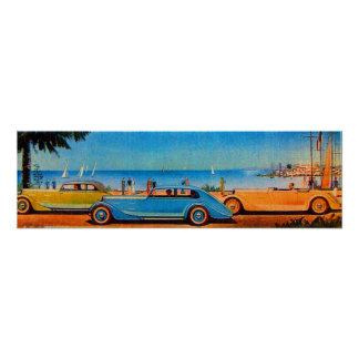 RETRO CARS , blue yellow orange Poster