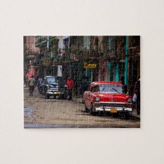 Retro cars on the Havana street Jigsaw Puzzle