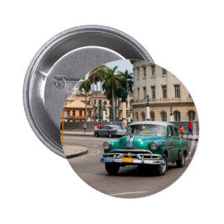 Retro cars on the Havana street Pinback Button