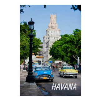 Retro cars on the Havana street Poster