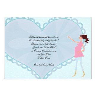 Retro Cartoon Blue Heart Baby Shower Invitation