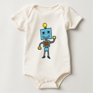 Retro cartoon blue robot baby bodysuit