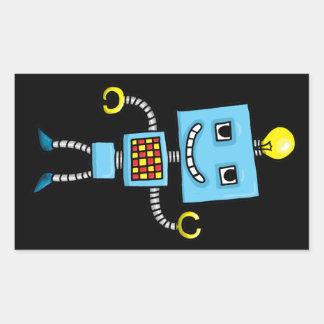 Retro cartoon blue robot rectangle sticker