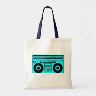 Retro-Cartoon BoomBox Light Blue Tote Bag