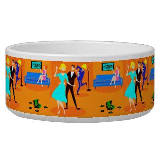 Retro Cartoon Cocktail Party Dog Bowl