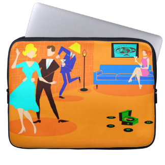 Retro Cartoon Cocktail Party Laptop Sleeve