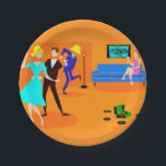 "Retro Cartoon Cocktail Party Paper Plate<br><div class=""desc"">These Retro Cartoon Cocktail Party Paper Plates don&#39;t have an introverted bone in their body! The mid century modern design features a vibrant cartoon drawing of a living room and a lively cocktail party. There is an attractive couple on the dance floor. The blonde woman in a turquoise dress and...</div>"