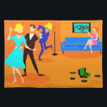 """Retro Cartoon Cocktail Party Placemat<br><div class=""""desc"""">This Retro Cartoon Cocktail Party Placemat doesn&#39;t have an introverted bone in its body! The mid century modern design features a vibrant cartoon drawing of a living room and a lively cocktail party. There is an attractive couple on the dance floor. The blonde woman in a turquoise dress and her...</div>"""