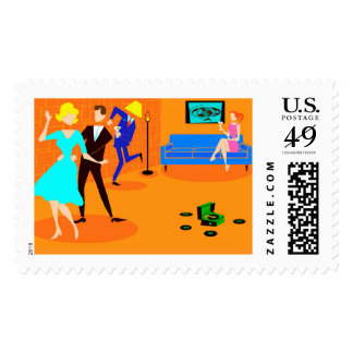 Retro Cartoon Cocktail Party Postage Stamps