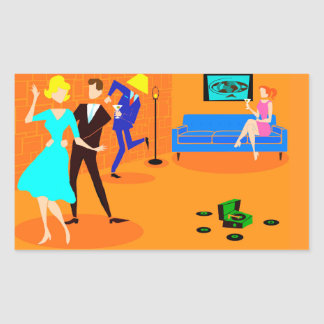 Retro Cartoon Cocktail Party Stickers