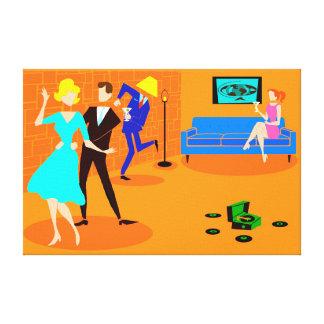 Retro Cartoon Cocktail Party Stretched Canvas