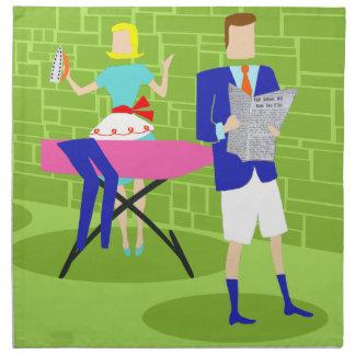 Retro Cartoon Couple at Home Cloth Napkins