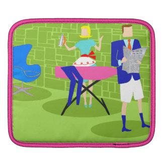 Retro Cartoon Couple at Home iPad Sleeve