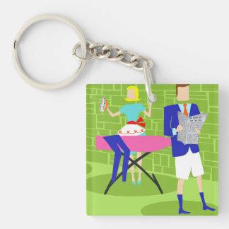 Retro Cartoon Couple at Home Keychain