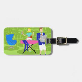 Retro Cartoon Couple at Home Luggage Tag