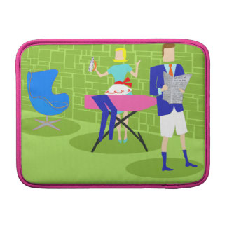 Retro Cartoon Couple at Home MacBook Air Sleeve