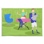 Retro Cartoon Couple at Home Placemat Cloth Place Mat